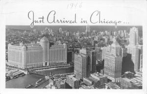 Chicago Illinois Bird's Eye View~Just Arrived~Skyscrapers-River-Bridge~1946 RPPC