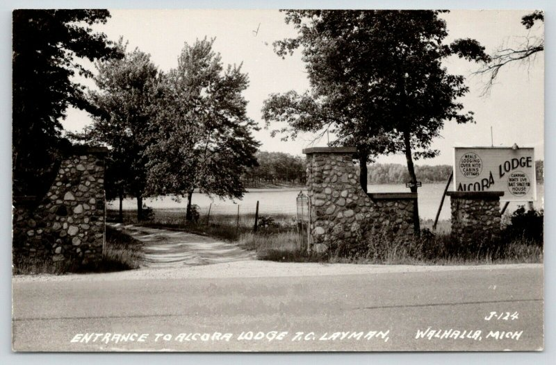 Walhalla Michigan~Laymen Alcora Lodge~Cabins Entrance~Stone Pillars~RPPC 1940s