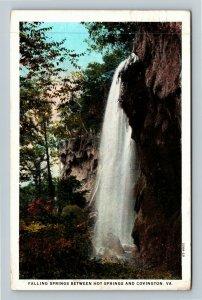 Covington VA-Virginia, Scenic Falling Springs, Gorge, Vintage c1932 Postcard