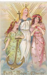 Angels Faith Hope and Charity Embossed 1912