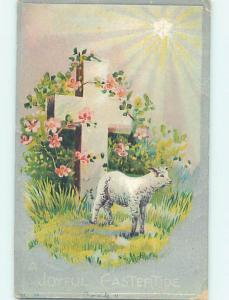 Pre-Linen easter religious BABY LAMB STANDS BY STONE JESUS CROSS hr2486