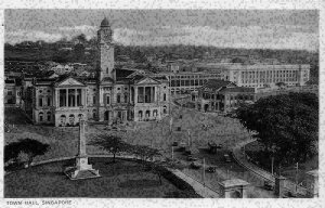 Singapore Town Hall Clock Tower Square Monument Vintage Cars Postcard