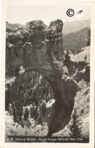 Natural Bridge Bryce Canyon National Park Utah Black and White Real Photograph