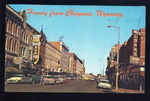Cheyenne, Wyoming/WY Postcard, Downtown, Trail Bar/Hotel/Army Store/Old Cars