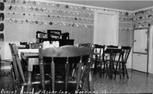 Warren Vermont Pitcher Inn Dining Room Real Photo Antique Postcard K77784