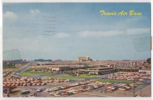 Travis Air Force Base Military MATS California CA Parking View 1950's Postcard