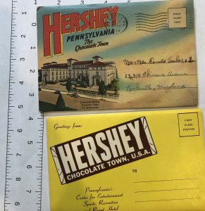 LOT of 2 : Vintage Hershey Pennsylvania The Chocolate Town Souvenir Postcard
