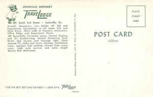 Louisville Kentucky~TraveLodge Motel~Night Lights~Cars & Truck~1960s Postcard