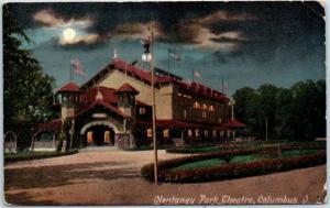 Columbus, Ohio Postcard OLENTANGY PARK Theatre Night View 1910 OH Cancel