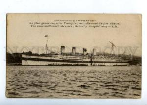 159683 WWI RED CROSS FRANCE Steamer HOSPITAL SHIP Vintage PC