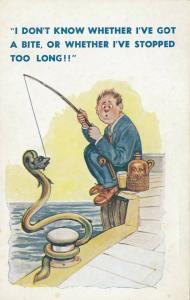 COMIC; 1900-10s; Man fishing, bottle of rum, snake on fishing line