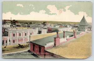 Perham Minnesota~Birdseye~Buggy at Dry Goods & Clothing Store~Water Tower~1910