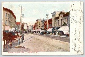 Janesville Wisconsin~West Milwaukee Street~Grocery Store~Old Fella in Wagon~1907