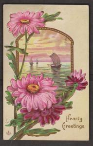 Sailboats & Flowers - Embossed - Used 1912
