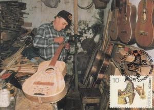 A Portugal Portuguese Guitar Musical Instrument Maker First Day Cover Postcard