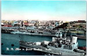 Vintage MALTA RPPC Postcard H.M. Ships Grand Harbour Royal Navy Tinted Photo