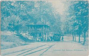 1907 WILLIAMSPORT Pa Postcard VALLAMONT PARK ENTRANCE Trolley People