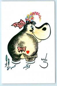SAN FRANCISCO, CA ~ Advertising HIPPO HAMBURGERS Whimsical Wolo Art Postcard