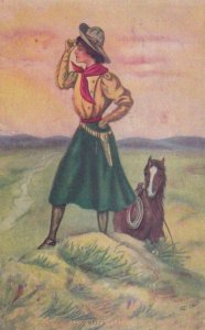 AS: A Long Way Home, Cowgirl looking afar on hill, Horse, PU-1911