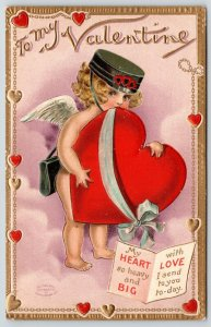BB London Valentine~Delivery Cupid in Clouds Struggles~Heavy Heart~Gold Emboss