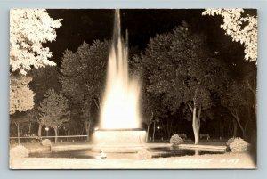 Scenic View Of Memorial Fountain Hastings, Nebraska RPPC Postcard