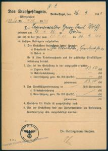 3rd Reich Germany Jewish Persecution Prisoner Changing Name Berlin Tegel 86063