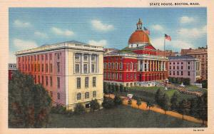 State House, Boston, Massachusetts, Early Linen Postcard, Unused