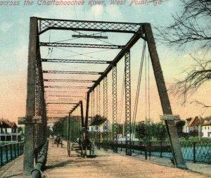 1910s Chattahoochee Bridge West Point Georgia Red Letter Horse Wagon Postcard