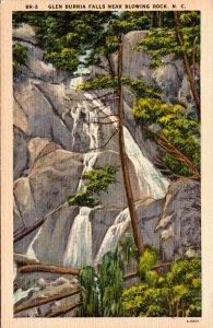 Glen Burnia Falls near Blowing Rock NC Postcard unused 1930s/40s