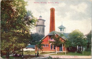 Beloit Wisconsin~Boy at Water Works~Pumping Station~Water Tower~Smoke Stack~1915