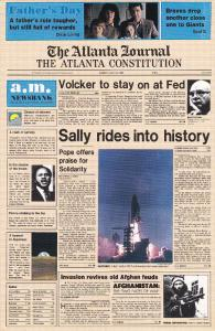 Atlanta Constitution Newspaper , June 19, 1983 Cover ; 1st U.S. Woman in Space