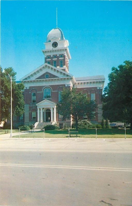 Marshall Missouri~Saline County Court House~Clock Tower~1950s Postcard
