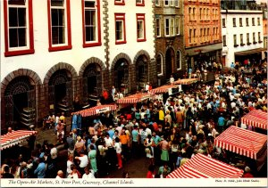 St Peter Port outdoor market Guernsey CI vtg postcard