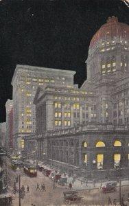 CHICAGO, Illinois, PU-1916; Clark St. Looking North at Night