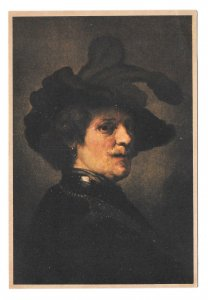 Artist Painting Rembrandt Self Portrait as an Officer Gestel & Zn Postcard
