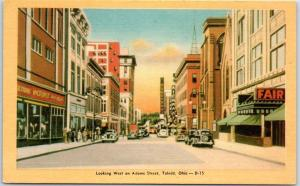 Toledo, Ohio Postcard Looking West on Adams Street Dexter Press Linen c1940s