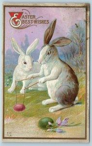 Postcard Easter Fantasy Anthropomorphic Rabbit Playing Diablo c1914 #2 AA14