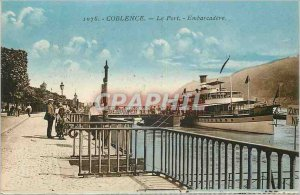 Old Postcard Koblenz Boat Harbor Embarcadere