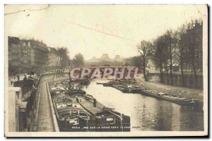 Old Postcard Paris View of the Seine to the Pont Neuf Boat Peniche
