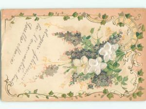 Pre-1907 foreign WHITE FLOWERS MADE OF CLOTH GLUED TO POSTCARD J3716