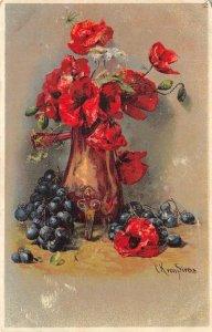 Vase of Roses Flowers Pirous? Painting Artist-Signed 1908 Vintage Postcard