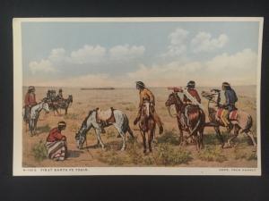 Mint NM USA PPC Postcard Native American Indian Watching First Santa Fe Train
