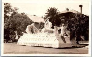 1930s St. Petersburg Festival of States Parade RPPC Postcard PENNSYLVANIA Float