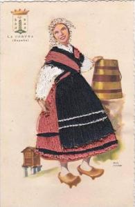 Embroidered Spain La Coruna Beautiful Lady