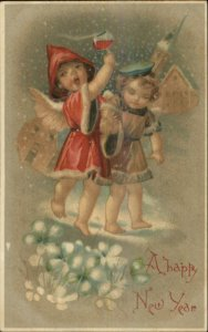 New Year - Drunk Cherubs Wine Glass c1910 BW 301 Postcard