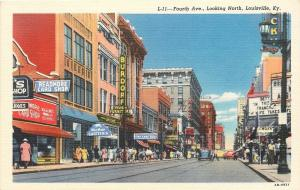 Louisville KY~4th Ave~Readmore Card Shop~Movie Theatre~Burdorf Furniture~1942