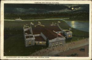 Bourne Cape Cod MA Movie Theatre Aerial View at Night c1920 Postcard
