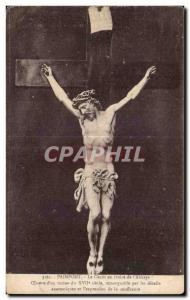 Old Postcard Paimpont Christ of ivory um monk of the Abbey Ceuvre XVII centur...