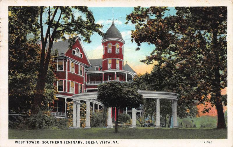 West Tower, Southern Seminary, Buena Vista, VA, Early Postcard, used in 1932