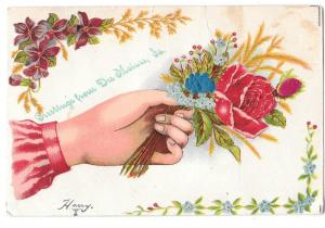 Greetings from Des Moines IA Hand w Silk Rosebud Postcard